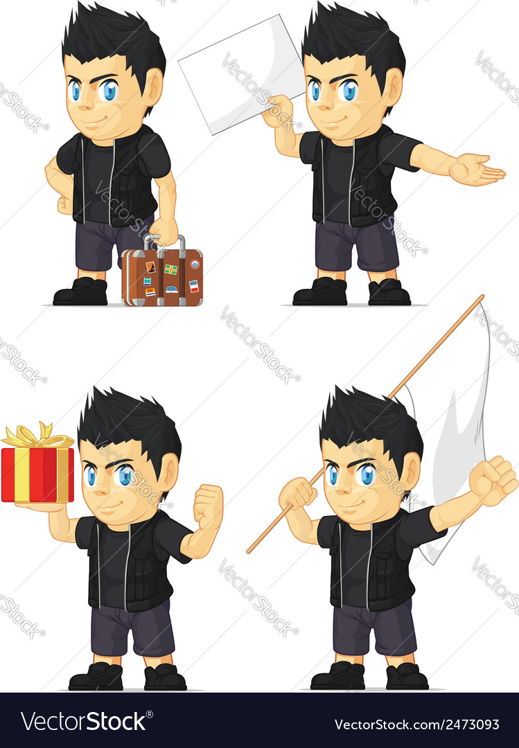 Spiky rocker boy customizable mascot 5 vector | Price: 1 Credit (USD $1)