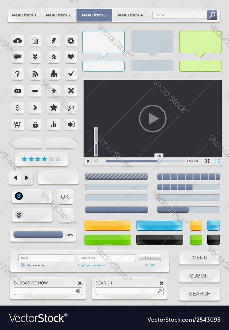 Web design elements set vector | Price: 1 Credit (USD $1)