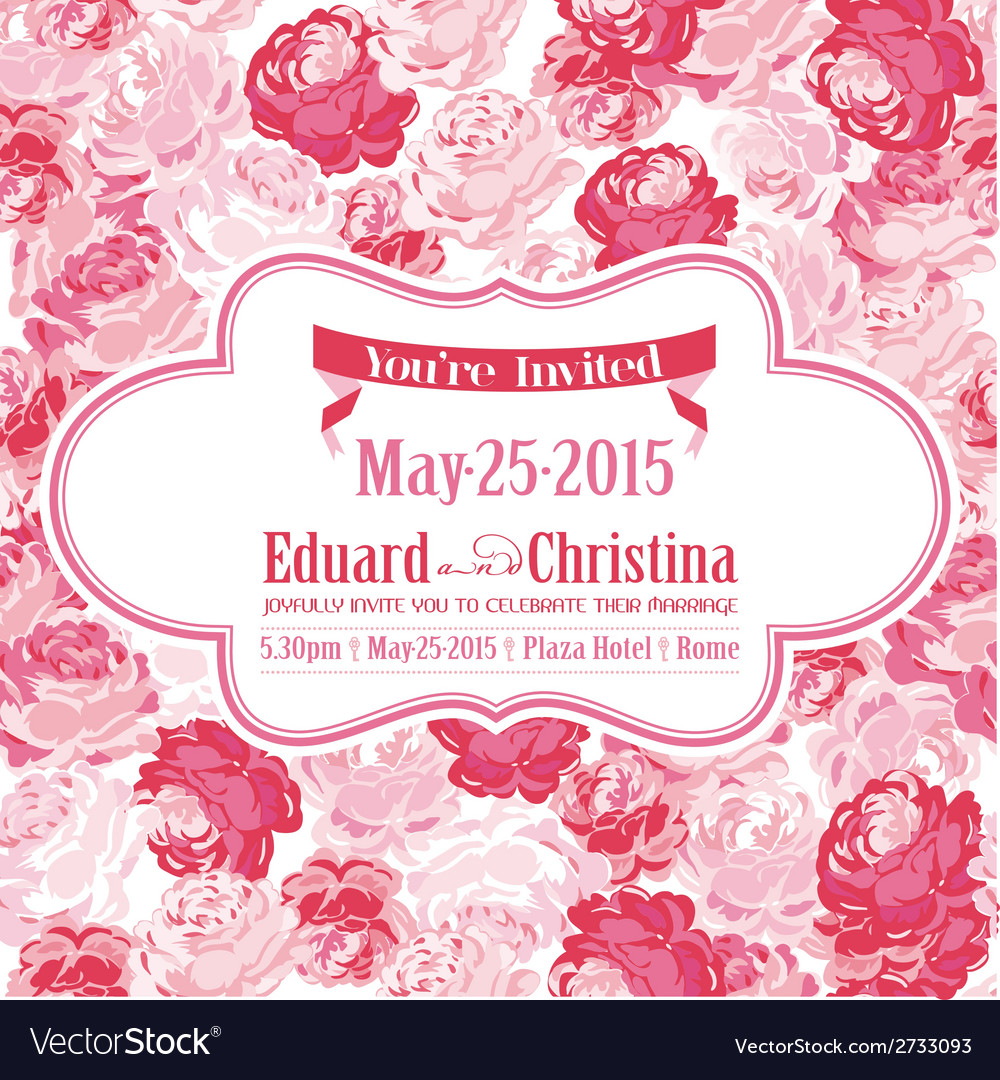 Wedding invitation card - with floral background vector | Price: 3 Credit (USD $3)