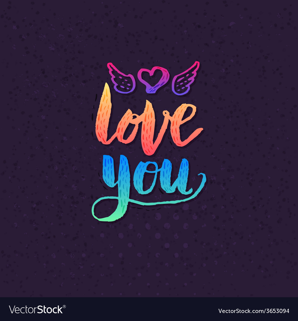 Attractive love you texts on violet background vector | Price: 1 Credit (USD $1)