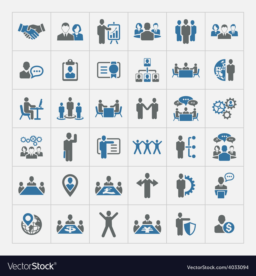 Business management and human resources icon set vector | Price: 1 Credit (USD $1)