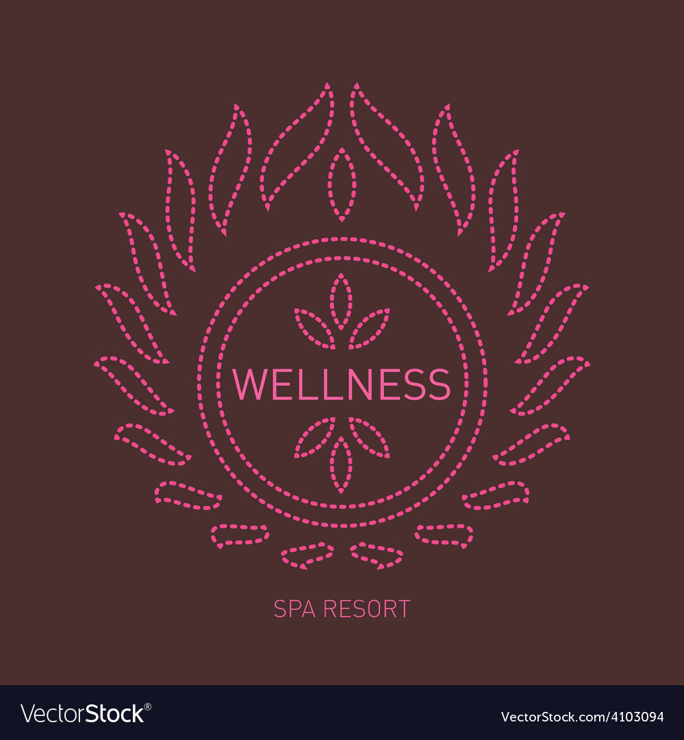 Floral logo template for wellness salon spa center vector | Price: 1 Credit (USD $1)