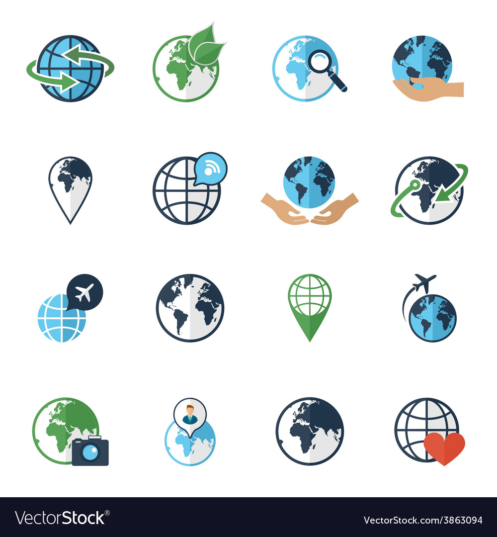 Globe earth icons set flat vector | Price: 1 Credit (USD $1)