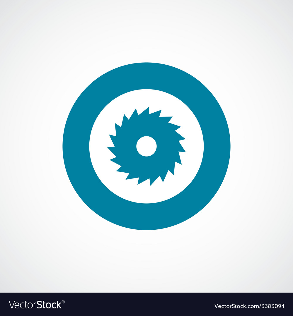 Industrial saw bold blue border circle icon vector | Price: 1 Credit (USD $1)