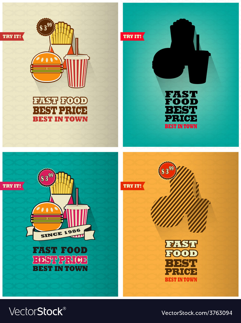Junk food icons vector | Price: 1 Credit (USD $1)