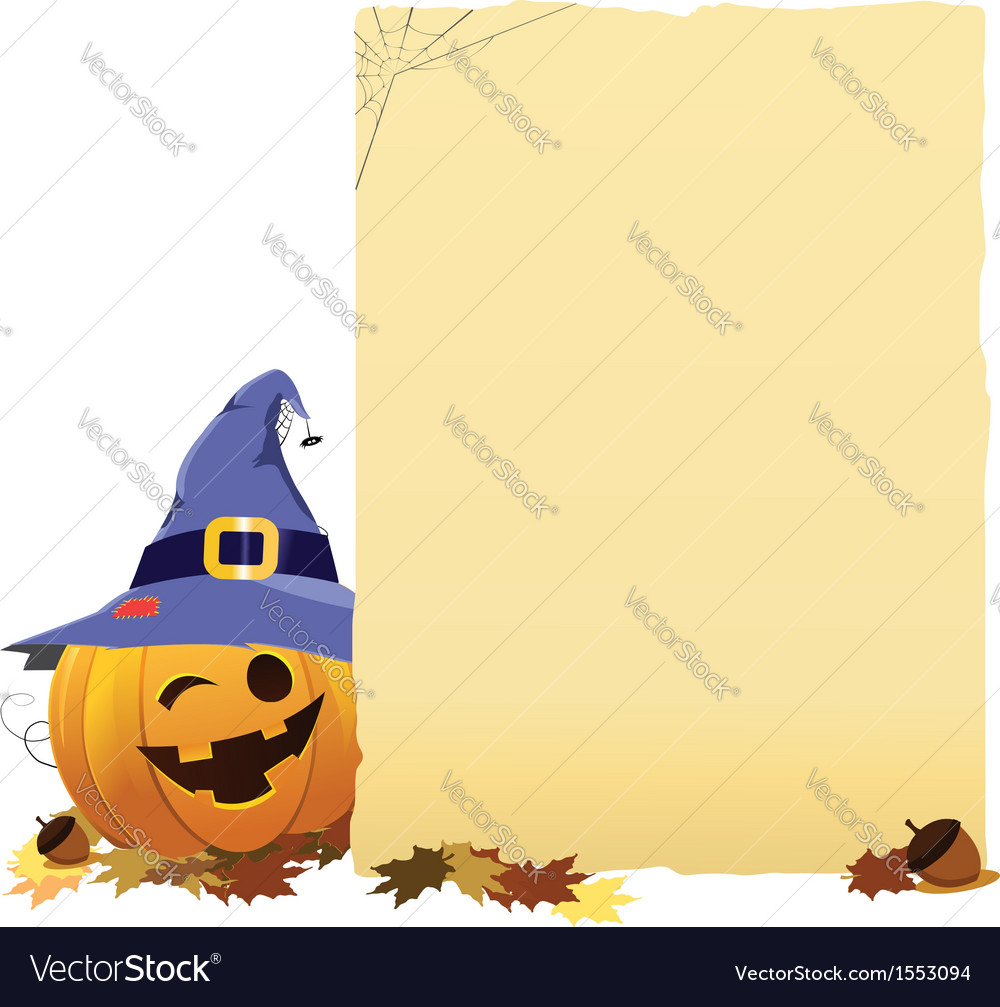Pumpkin with blank paper vector   Price: 1 Credit (USD $1)