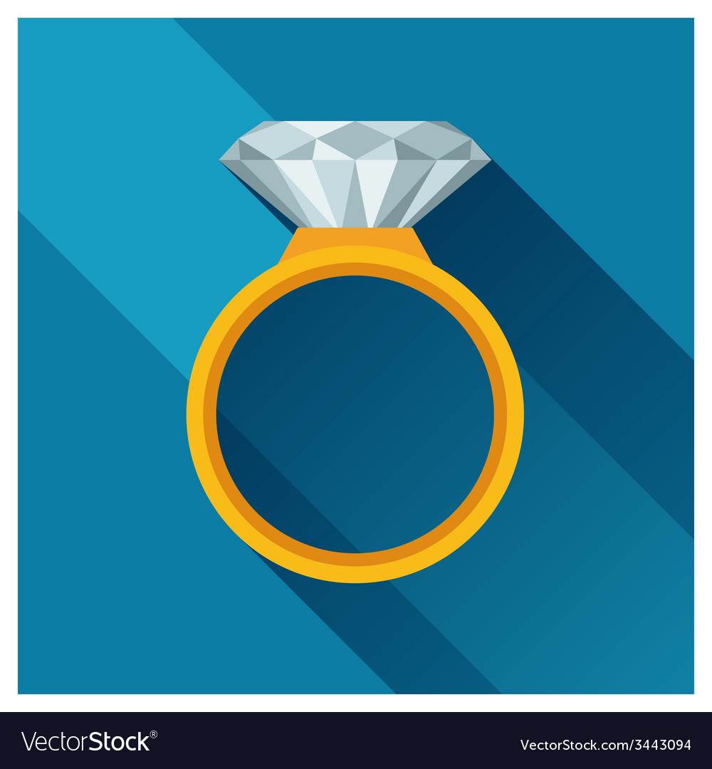 Ring with brilliant in flat design style vector | Price: 1 Credit (USD $1)