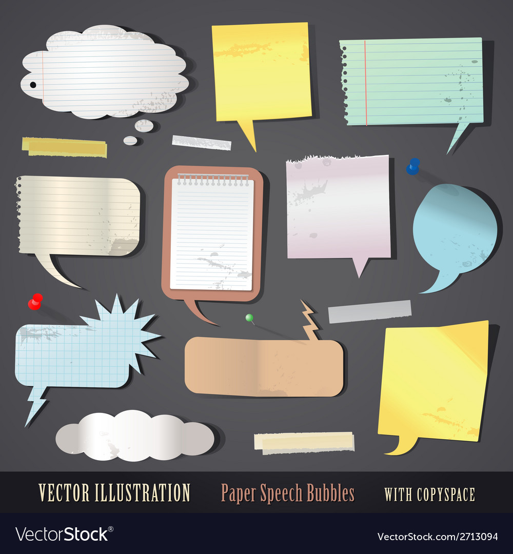 Set of textured paper speech bubbles vector | Price: 1 Credit (USD $1)