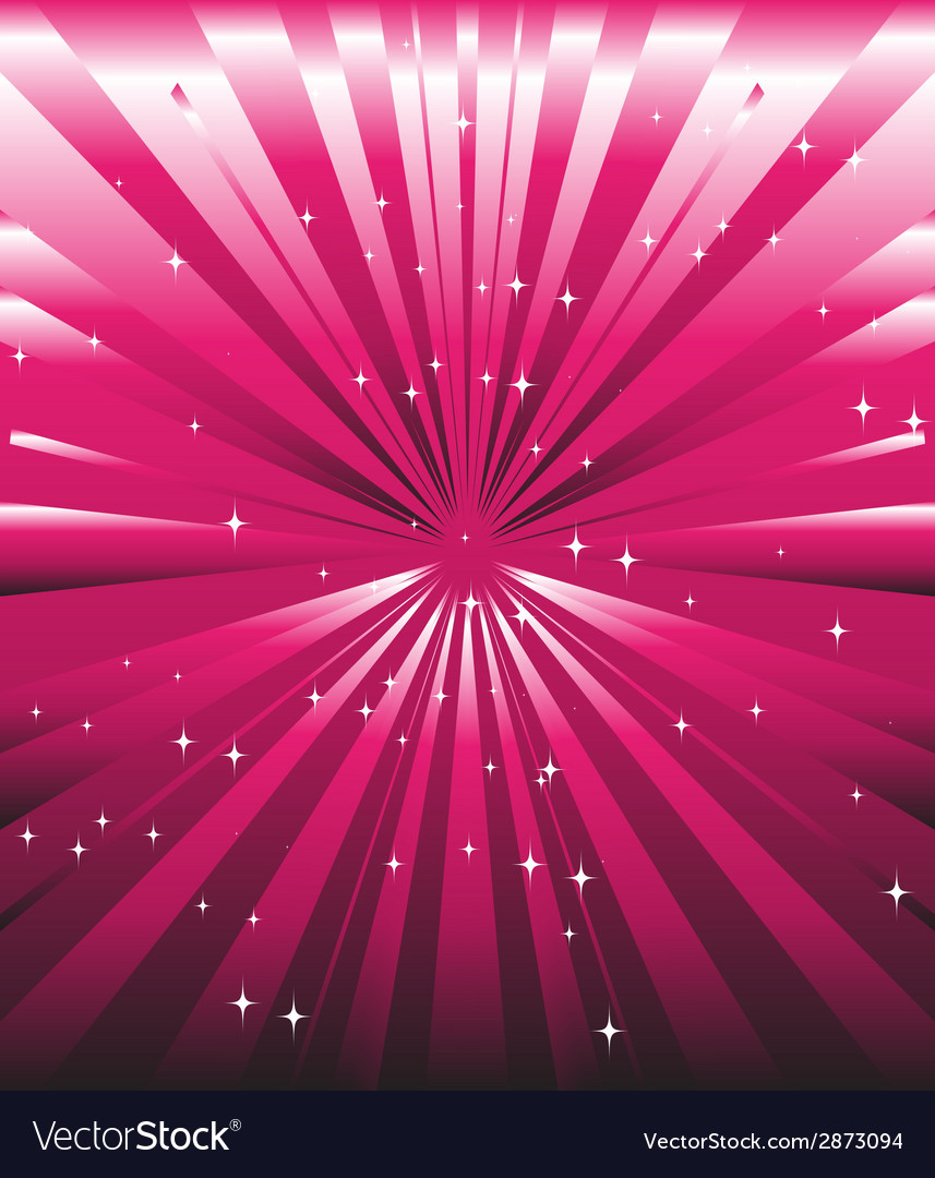 Sparkling stars on pink magenta ray background vector | Price: 1 Credit (USD $1)