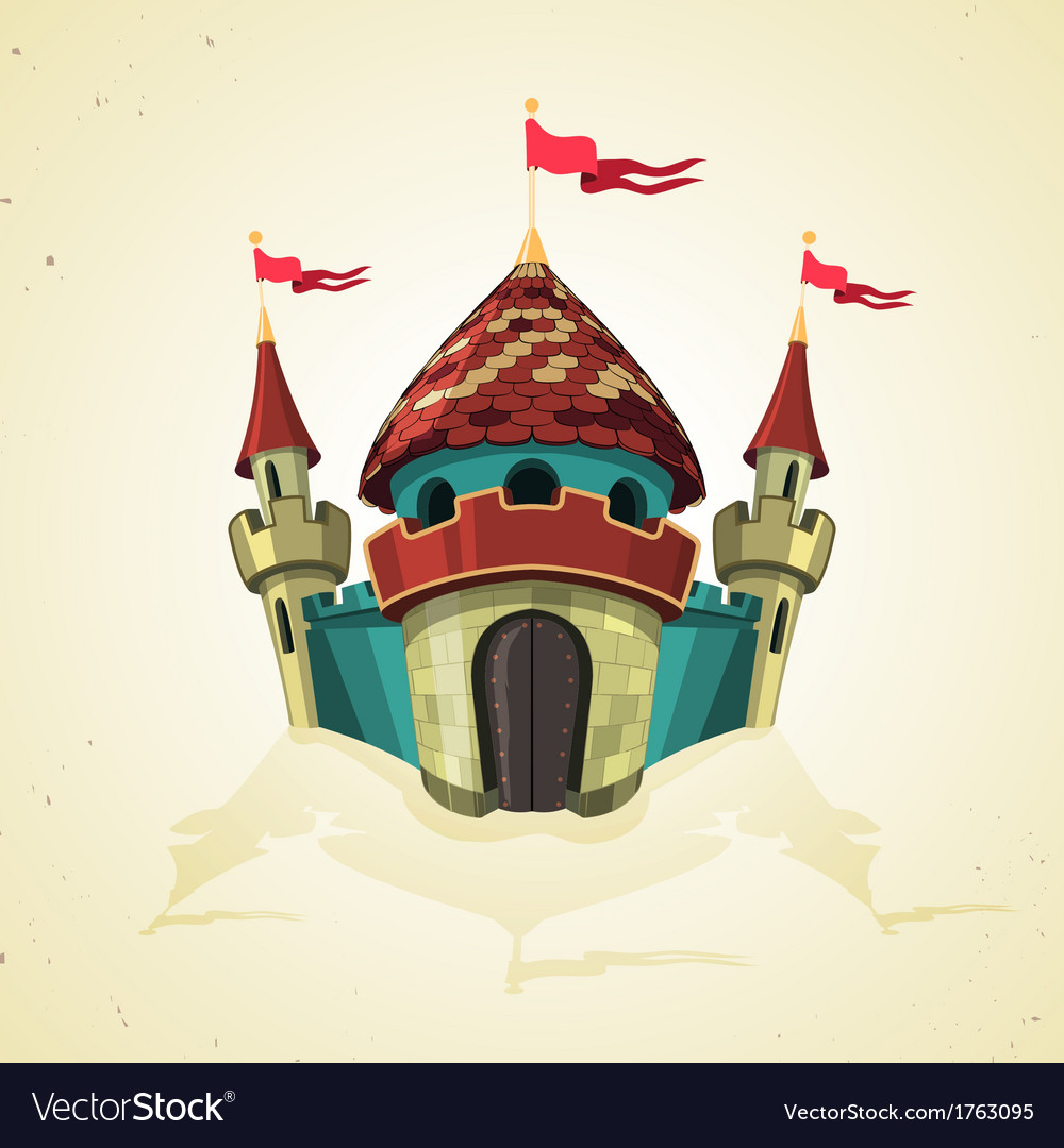 Cartoon fortified castle with flags icon vector | Price: 1 Credit (USD $1)