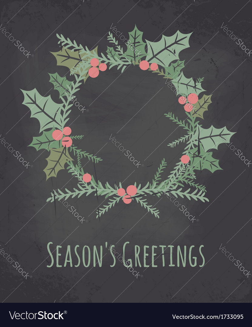 Chalkboard style christmas wreath greeting card vector | Price: 1 Credit (USD $1)