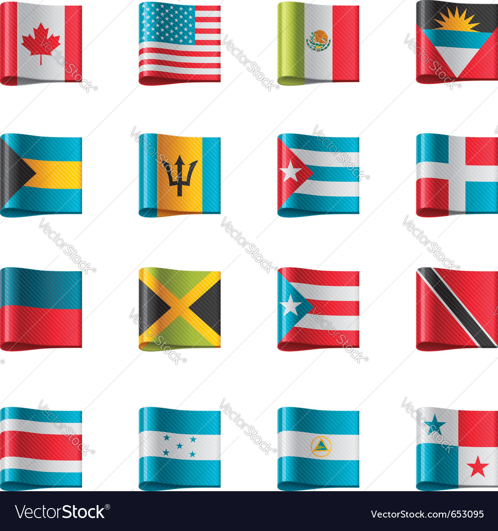 Flags  north and central america vector
