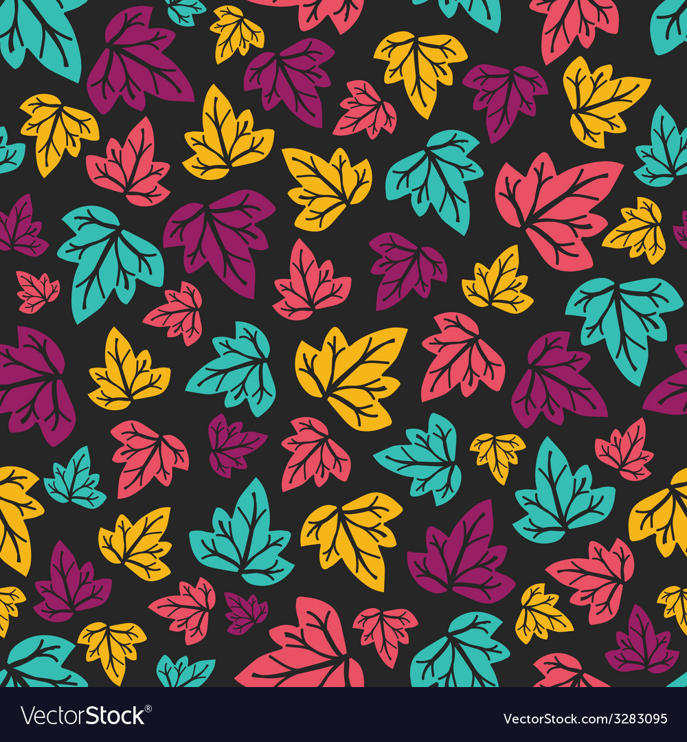 Grape leaves pattern hand-drawn seamless pattern vector | Price: 1 Credit (USD $1)