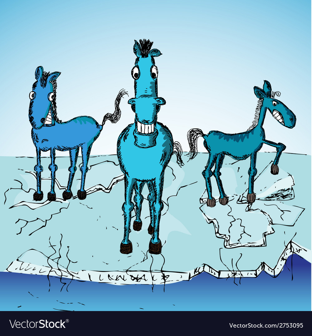 Horse trio on ice vector | Price: 1 Credit (USD $1)