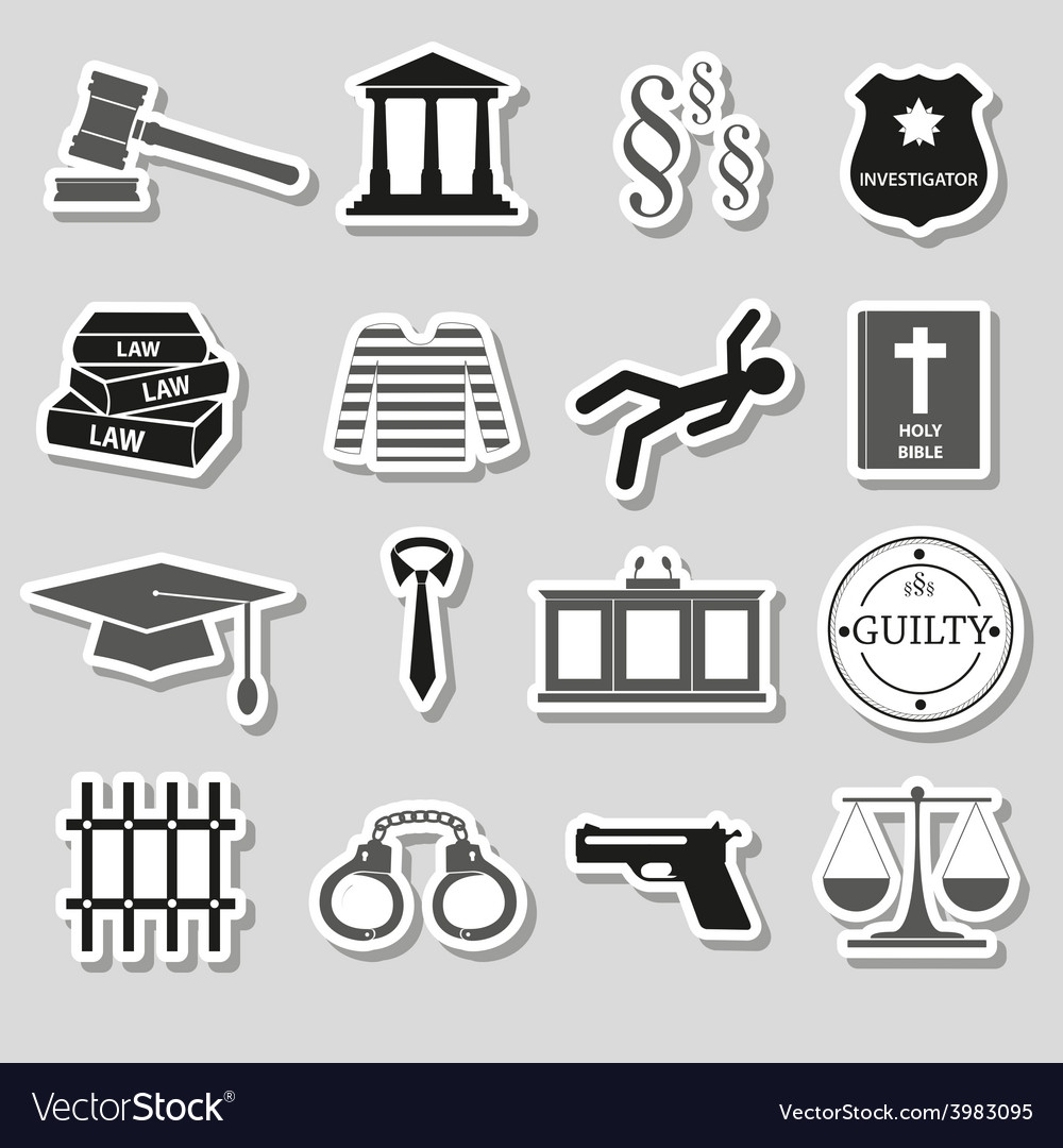 Justice and law gray stickers set eps10 vector | Price: 1 Credit (USD $1)