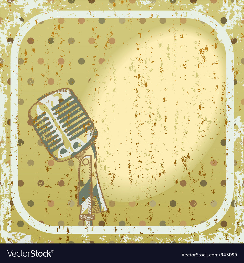 Retro microphone background vector | Price: 1 Credit (USD $1)