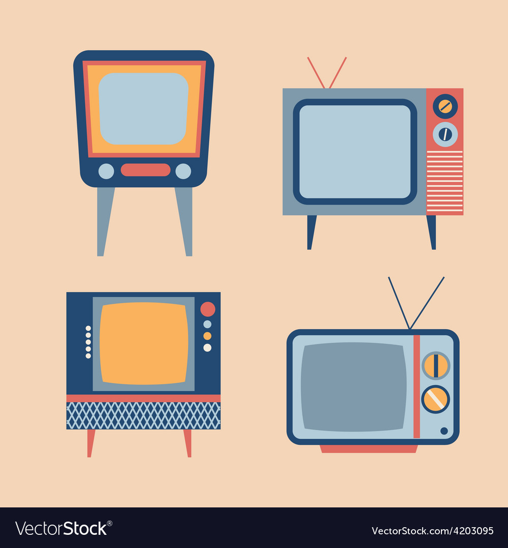 Retro tv items set vector | Price: 1 Credit (USD $1)