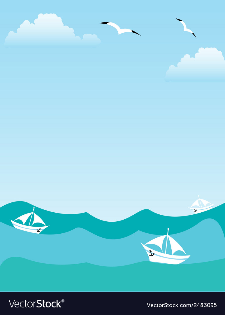 Sea or ocean landscape vector | Price: 1 Credit (USD $1)