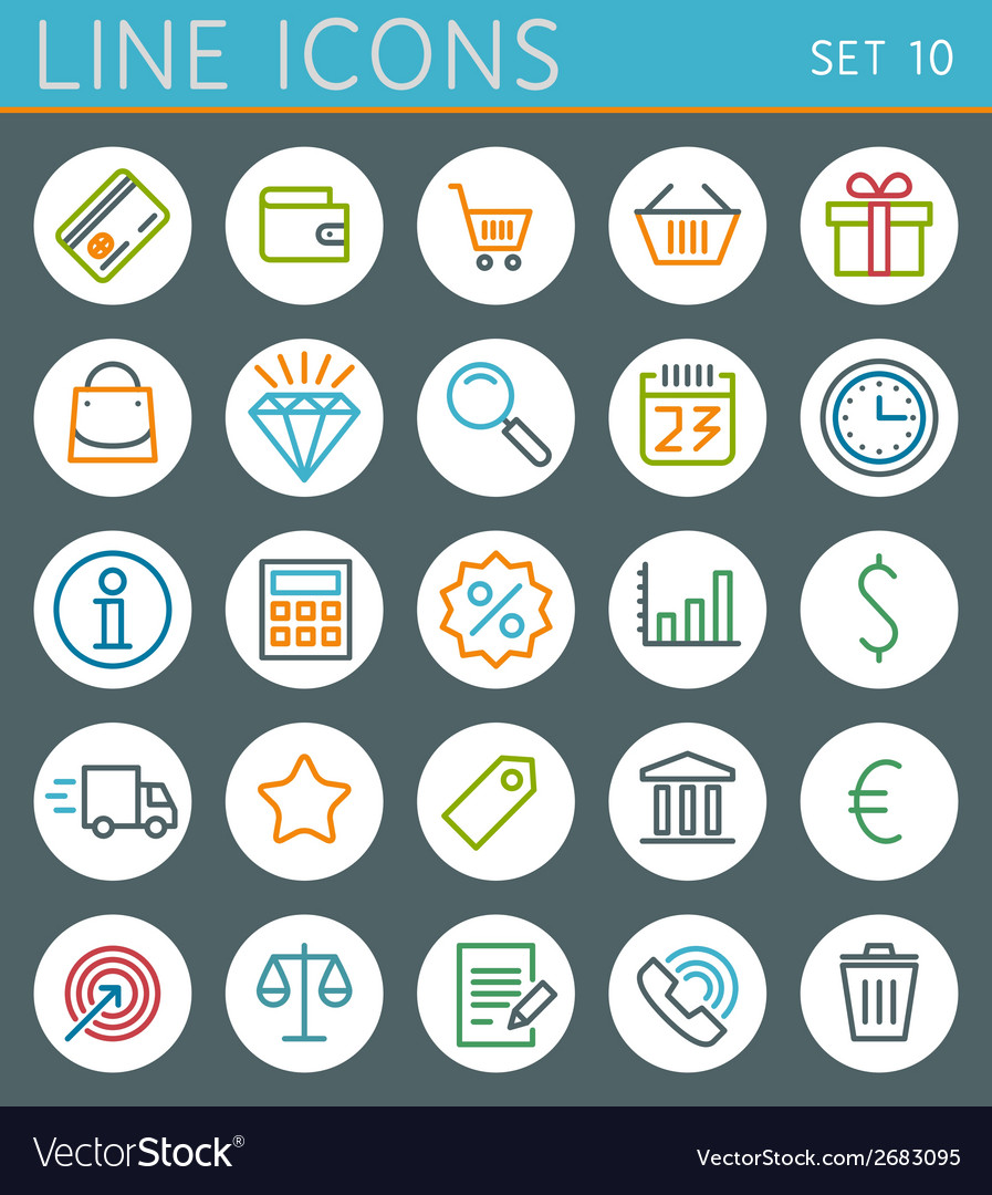 Shopping line icons set sale web design elements vector | Price: 1 Credit (USD $1)