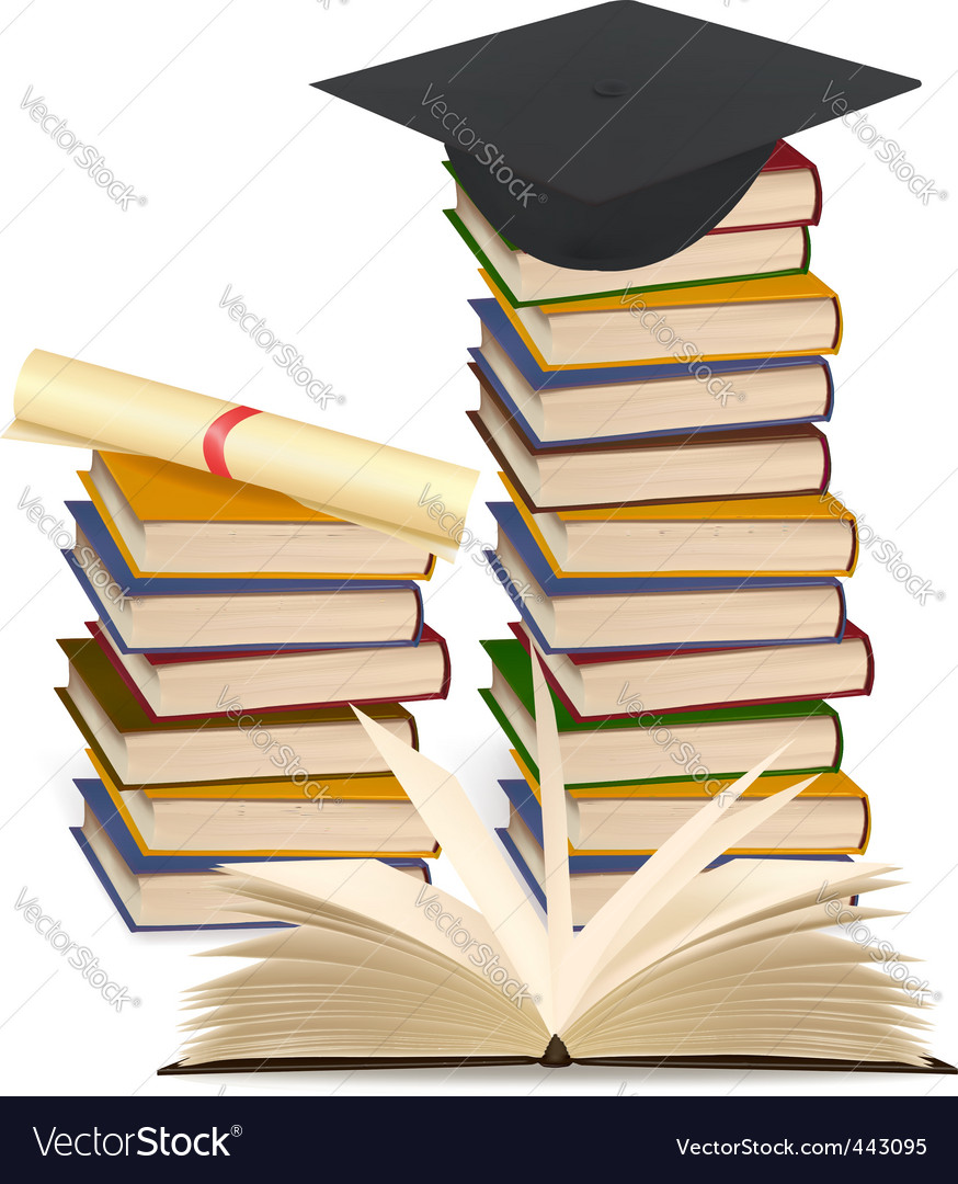 Stack books and graduation cap vector | Price: 1 Credit (USD $1)