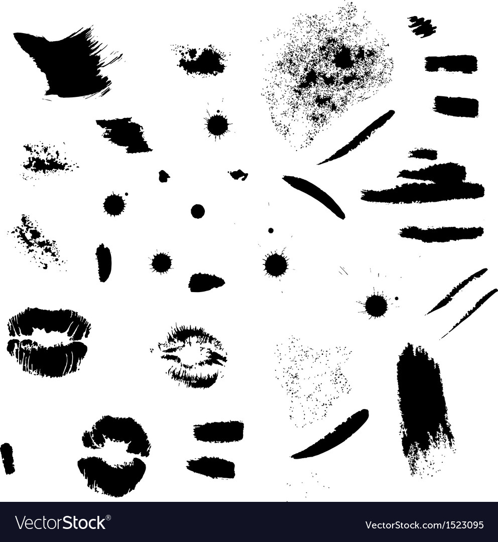 Strokes stains and lips imprints set vector | Price: 1 Credit (USD $1)