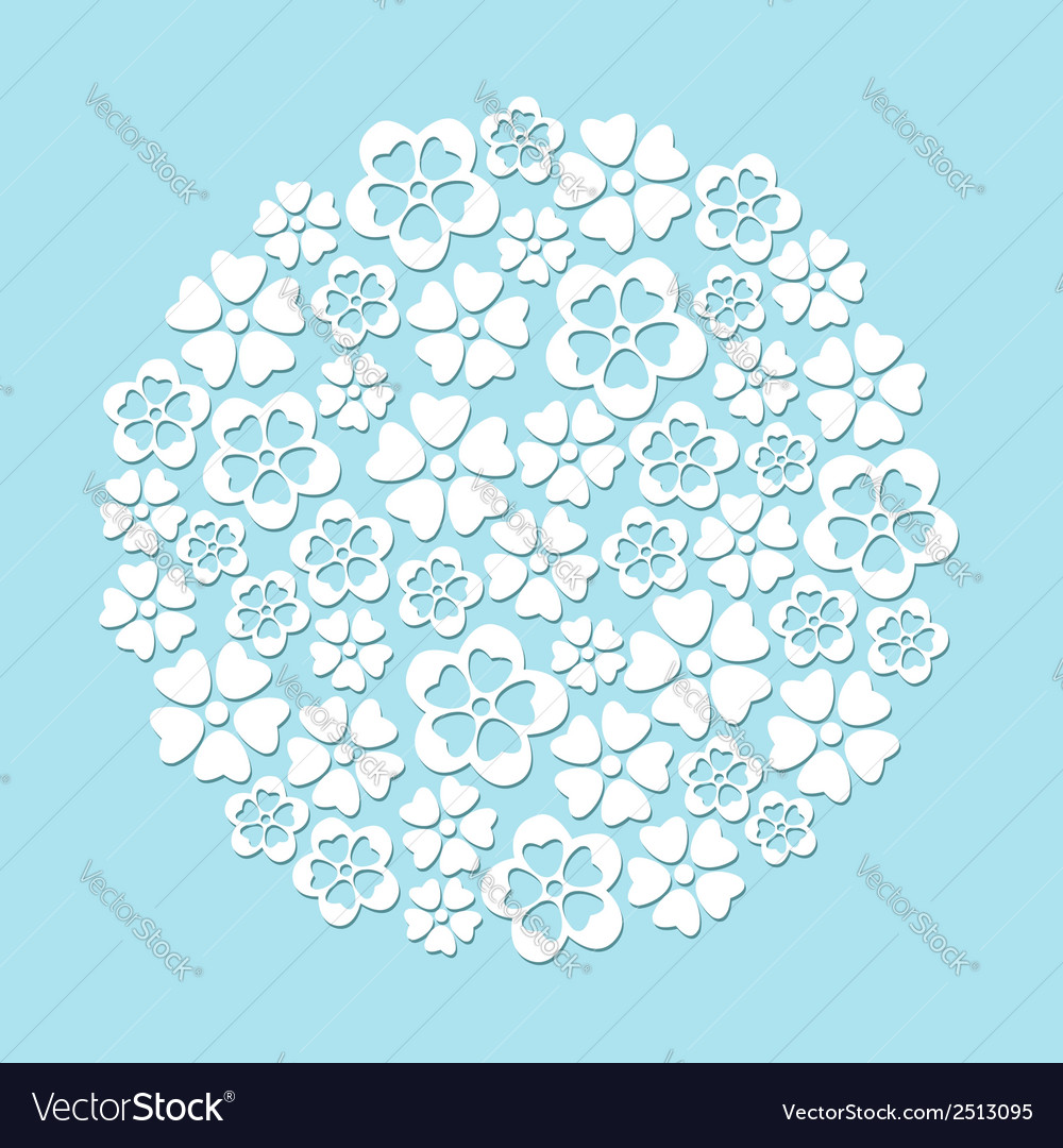 White paper cut flowers circle vector | Price: 1 Credit (USD $1)