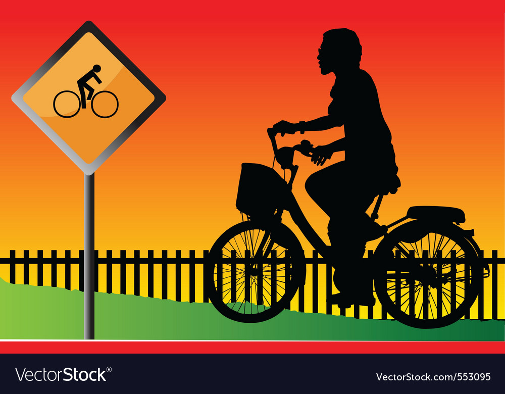 Young cyclists evening at the signs vector | Price: 1 Credit (USD $1)