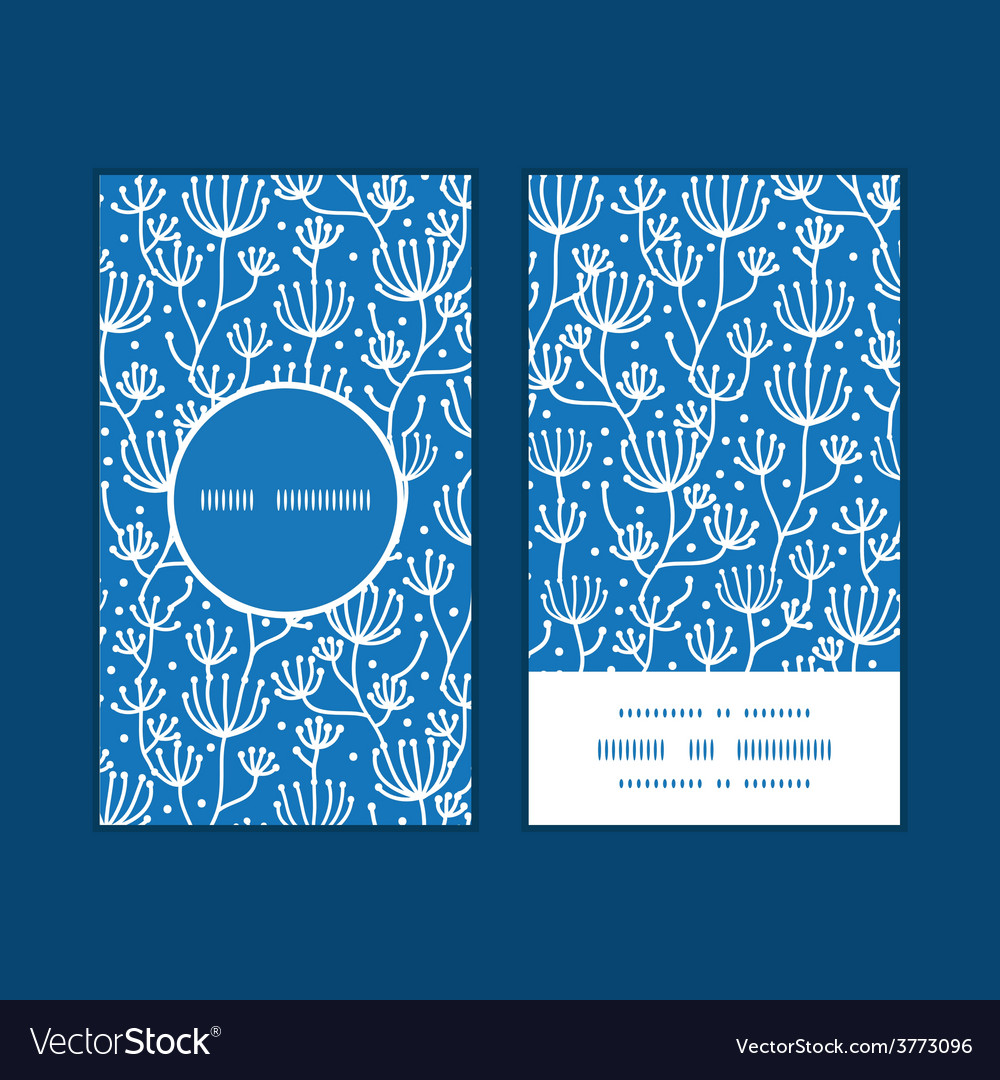 Blue white lineart plants vertical round vector | Price: 1 Credit (USD $1)