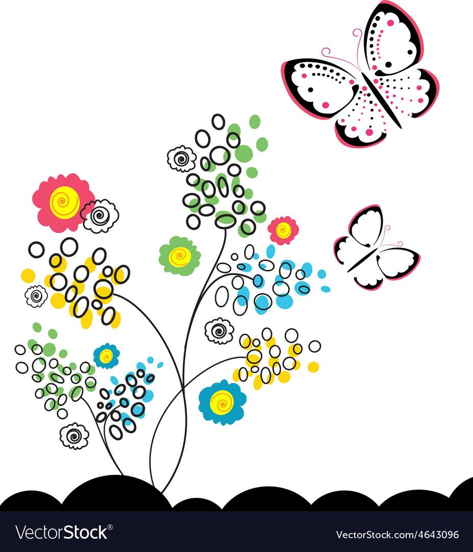 Butterflies and flowers 11 vector | Price: 1 Credit (USD $1)