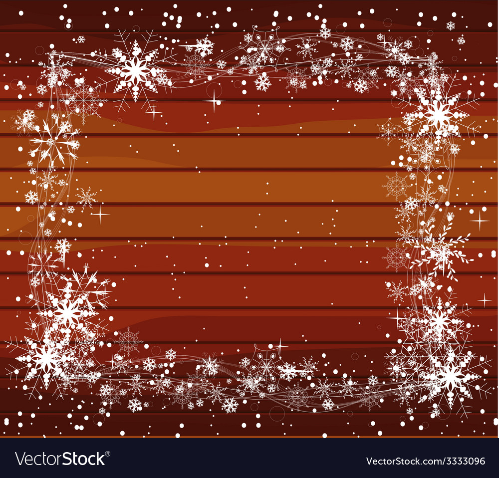 Christmas background with snowflakes on wood vector | Price: 1 Credit (USD $1)