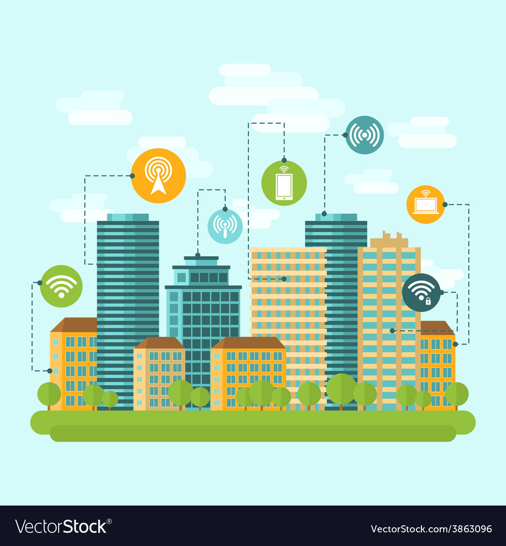 City wireless internet connection vector | Price: 1 Credit (USD $1)