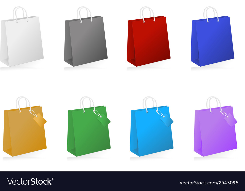 Colorful shopping bag collection vector | Price: 1 Credit (USD $1)
