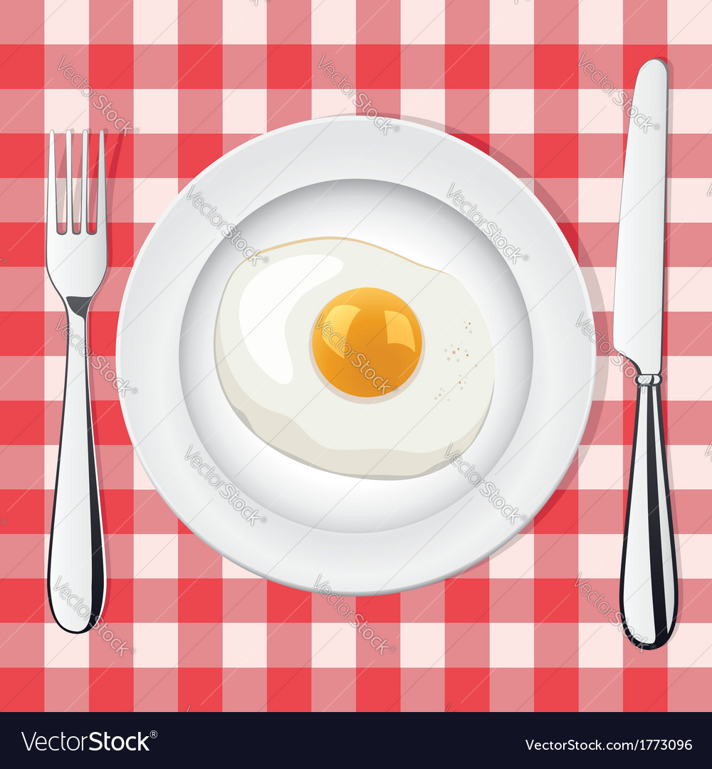 Egg on a plate vector | Price: 1 Credit (USD $1)