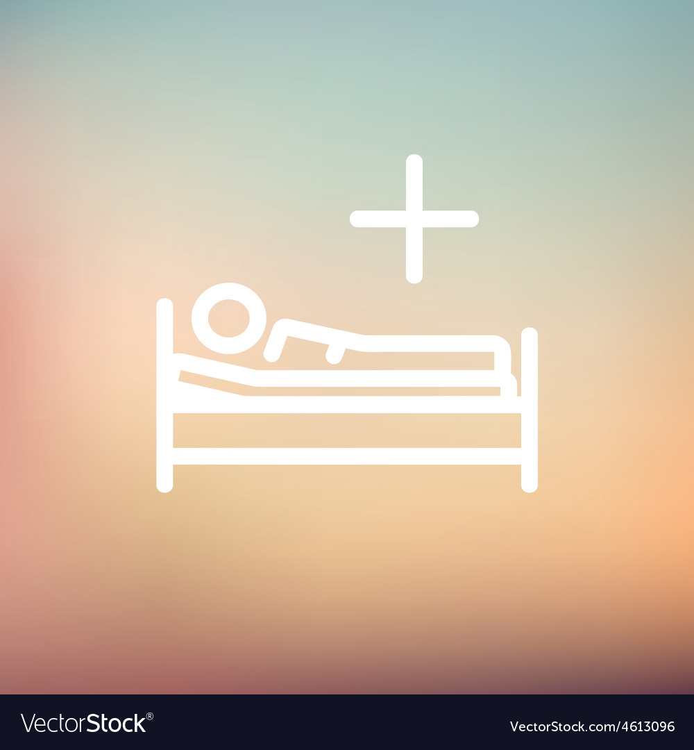 Medical bed with patient thin line icon vector | Price: 1 Credit (USD $1)