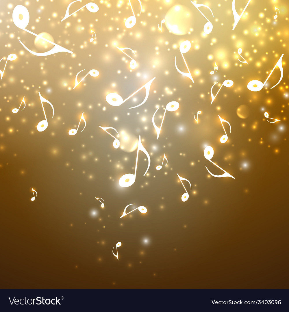 Musical background with flowing golden music notes vector | Price: 1 Credit (USD $1)
