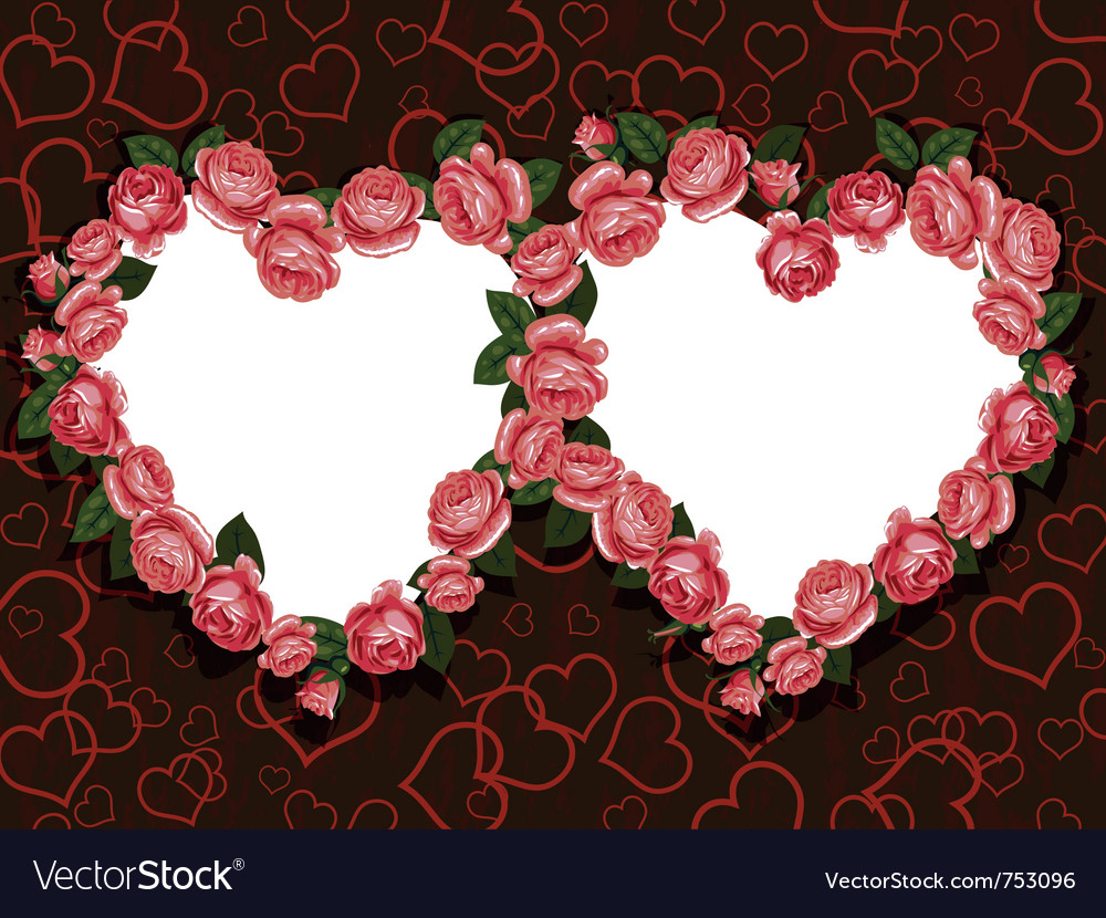 Rose flowers two hearts frame pattern vector   Price: 1 Credit (USD $1)