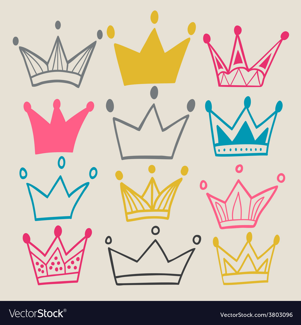 Set of cute cartoon crowns vector | Price: 1 Credit (USD $1)