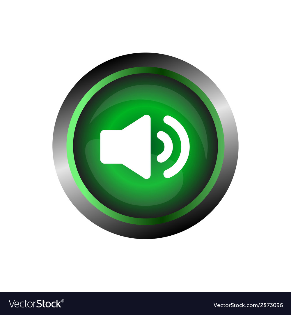 Speaker sound icon button isolated on green gloss vector | Price: 1 Credit (USD $1)