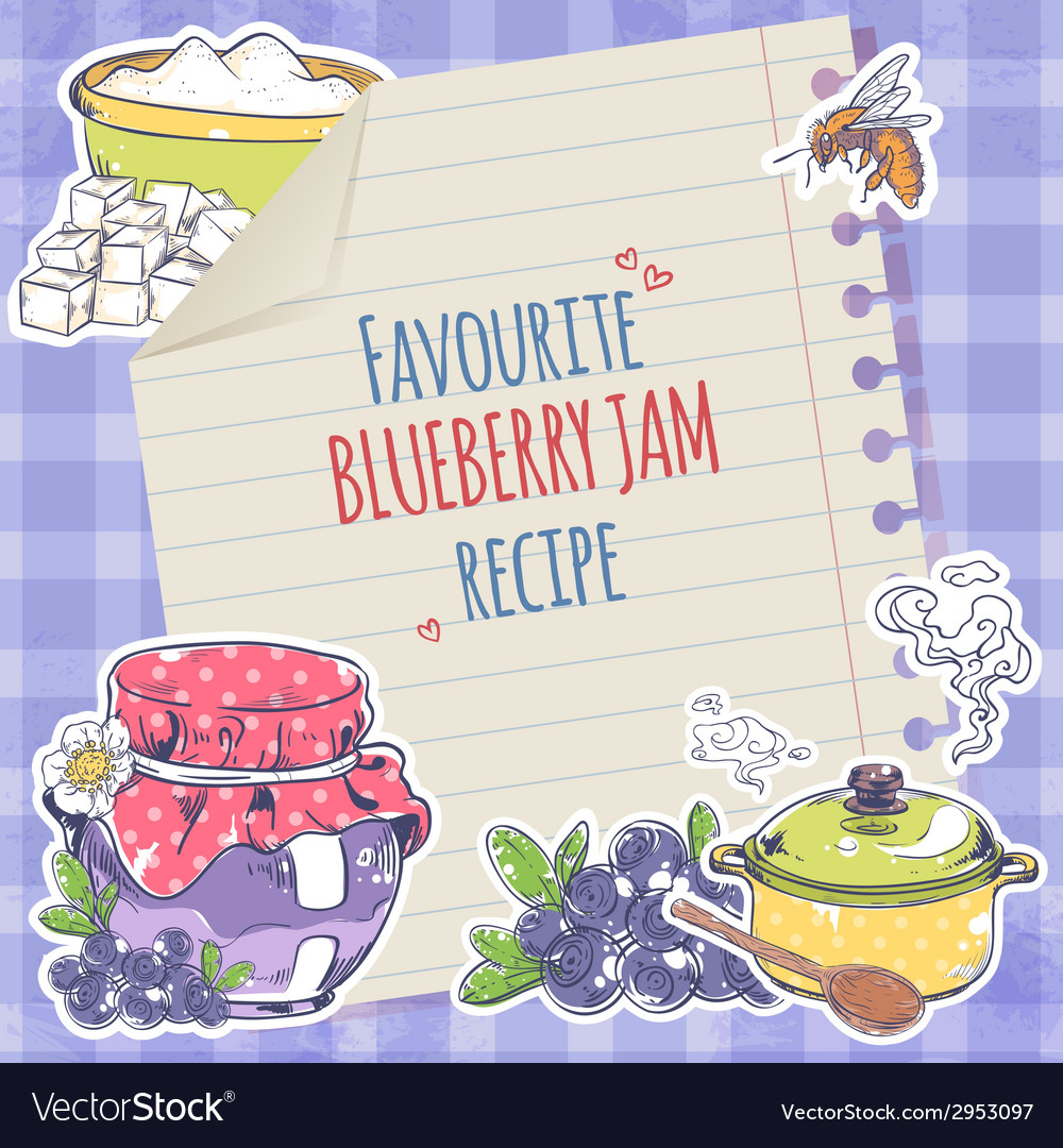 Blueberry jam poster vector | Price: 1 Credit (USD $1)