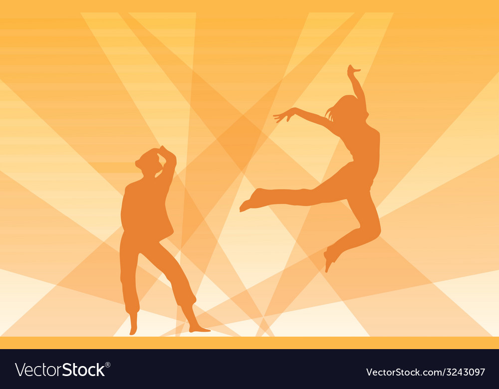 Contour of dancing girls on an orange background vector | Price: 1 Credit (USD $1)