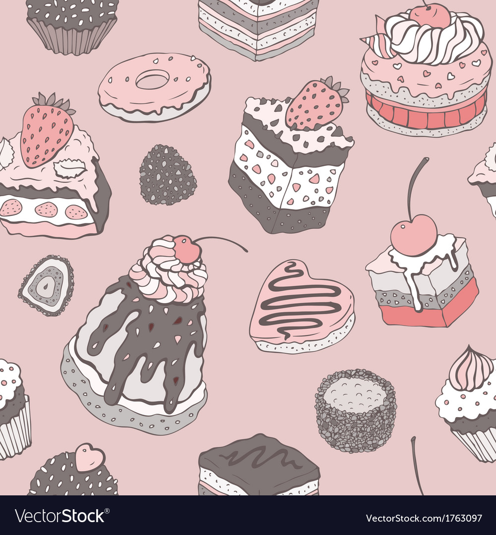 Cute cake seamless background vector   Price: 1 Credit (USD $1)