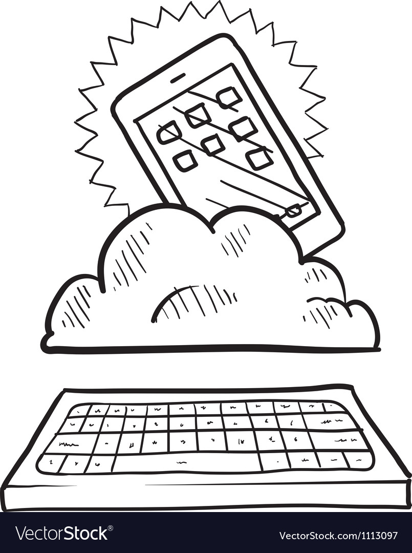 Doodle iphoneish cloud keyboard vector | Price: 1 Credit (USD $1)