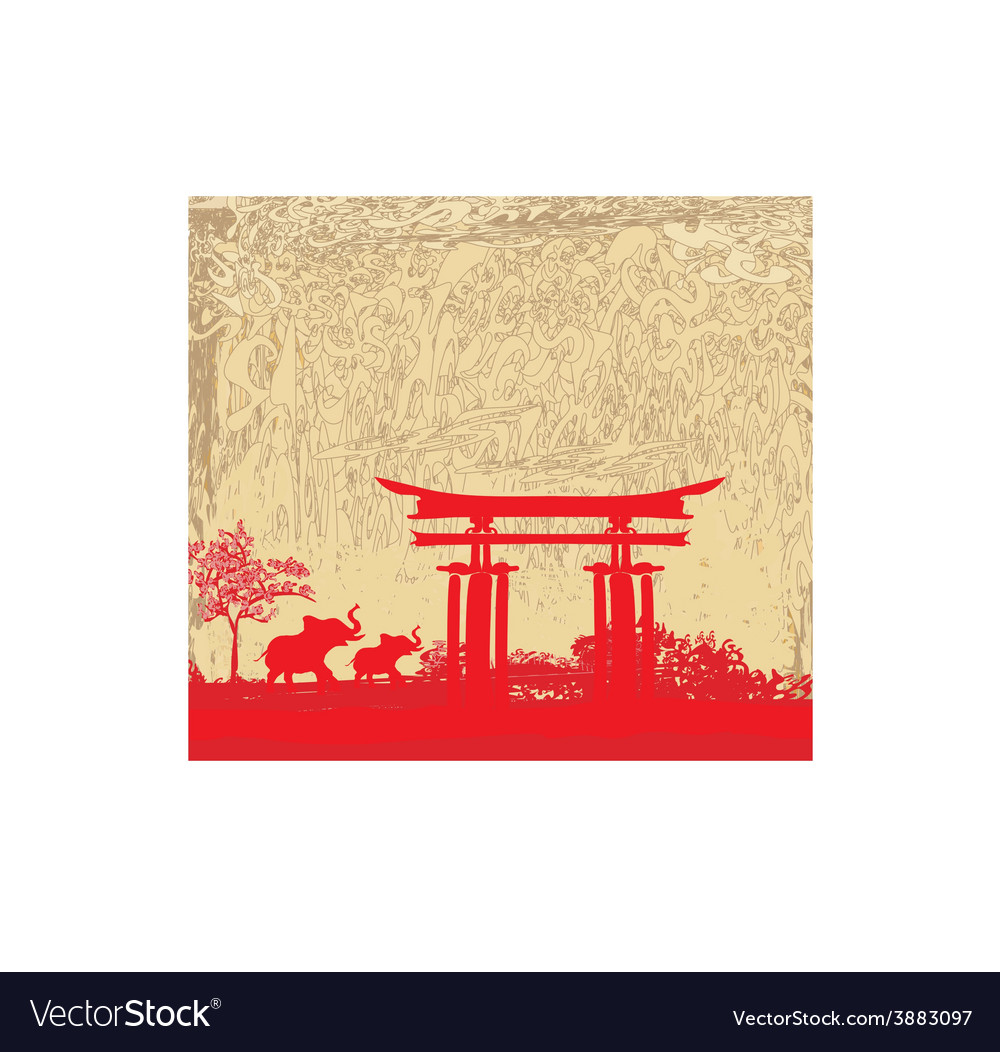 Elephant and chinese construction silhouette vector | Price: 1 Credit (USD $1)