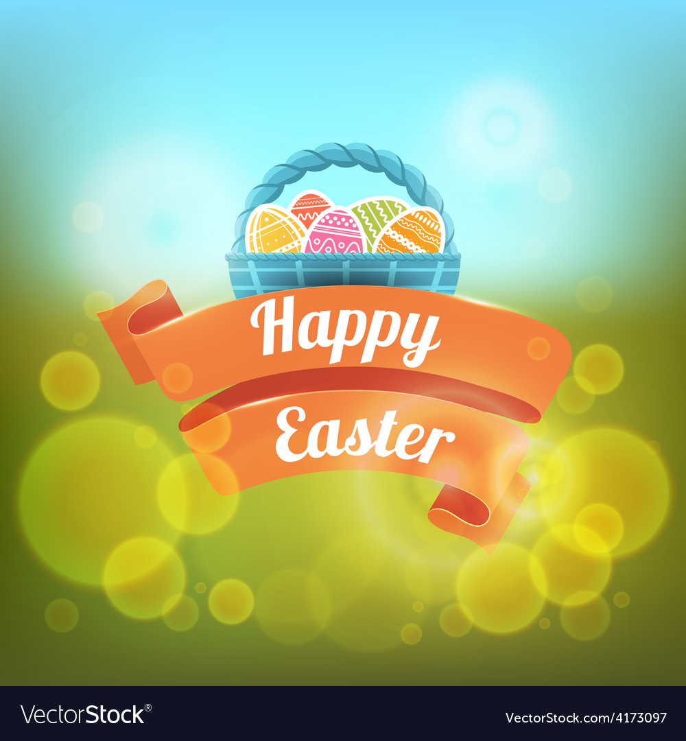 Happy easter on a blurred vector | Price: 3 Credit (USD $3)