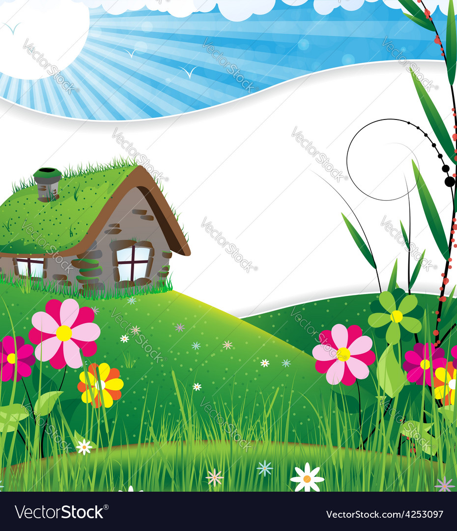 House in a meadow vector | Price: 3 Credit (USD $3)
