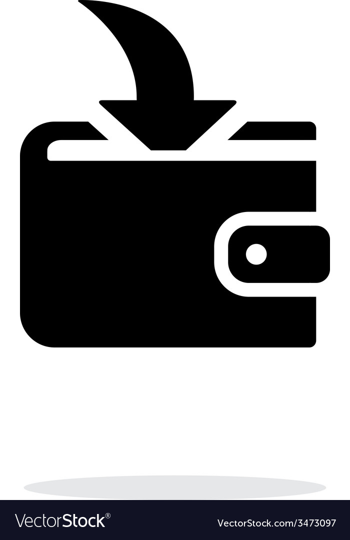 Incoming payment in wallet icon on white vector | Price: 1 Credit (USD $1)