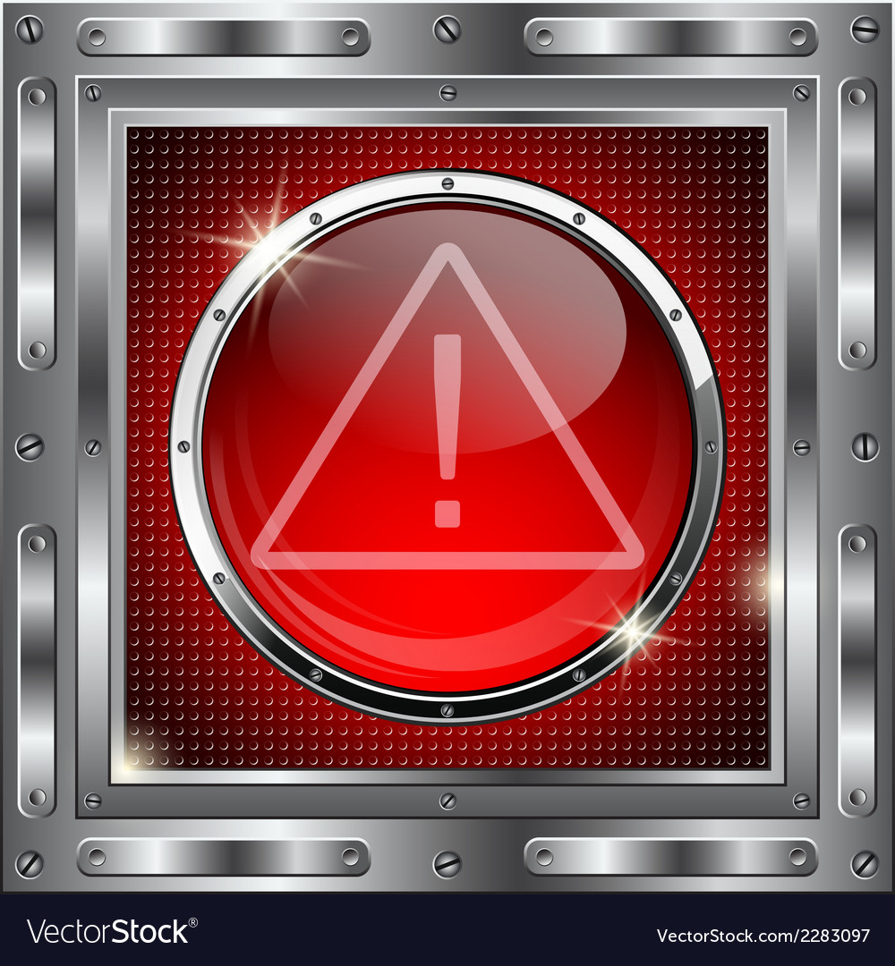 Metal background with red glass button vector | Price: 1 Credit (USD $1)