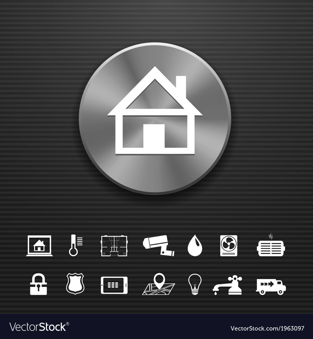 Smart home automation technology metal button vector | Price: 1 Credit (USD $1)