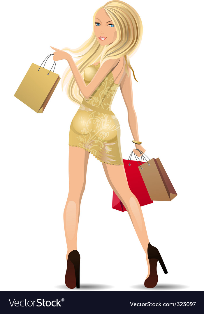 Woman carrying bags vector | Price: 3 Credit (USD $3)