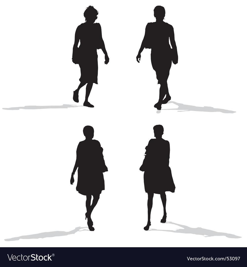 Women walking silhouettes vector | Price: 1 Credit (USD $1)